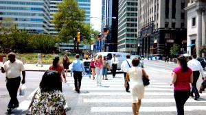 Pedestrians in Center City Philadelphia