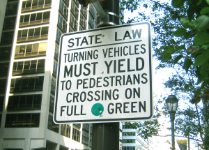 State Law: Turning Vehicles must Yield to Pedestrians