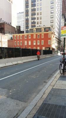 1430 Walnut - Ped walking in traffic lane on 15th Street