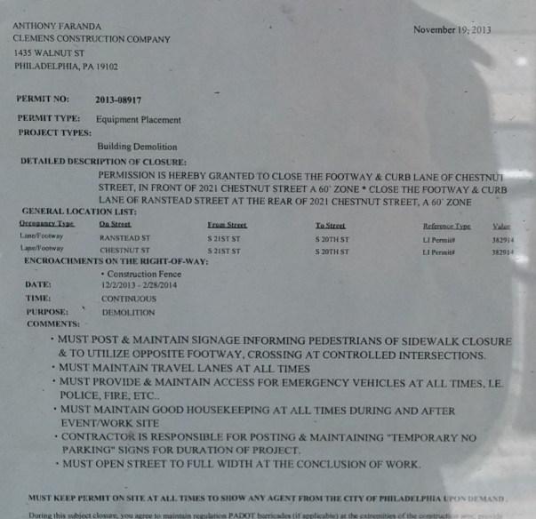 2021 chestnut - Chestnut permit to close sidewalk for demolition