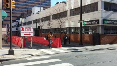 1116-28 Chestnut Street - Advance sign for closed sidewalk on Sansom