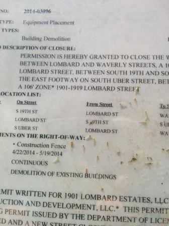 19th & Lombard. Permit to close sidewalks.
