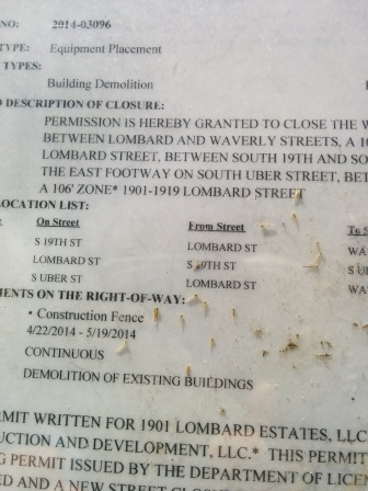 19th & Lombard. Permit to close sidewalks.