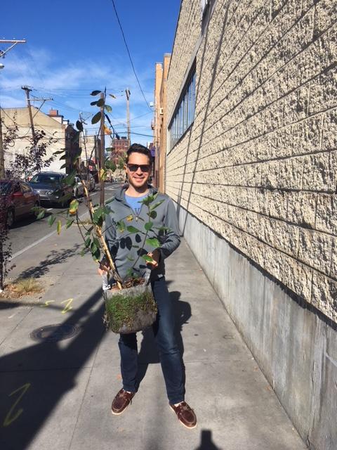 Kyle BlockfeetfirstphillyKyle_Block_Walking_with_a_tree_From_TreePhilly