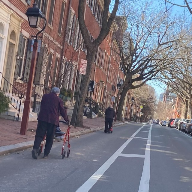 People forced to walk in bike lane